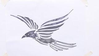 How to draw flying bird tribal tattoo