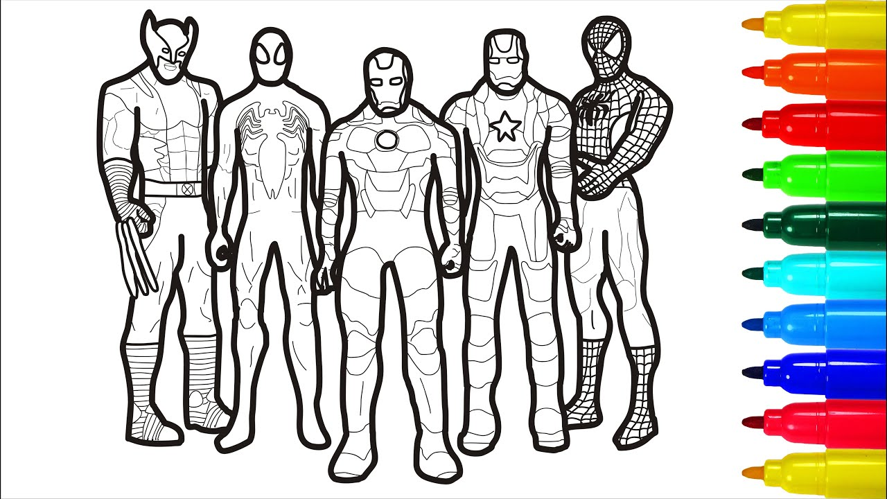 The Marvel Spiderman Wolverine Captain America Coloring Pages