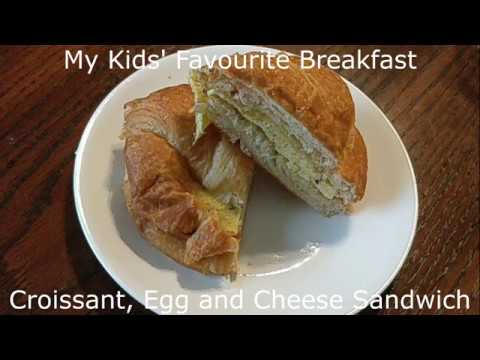 Croissant, egg and cheese sandwich