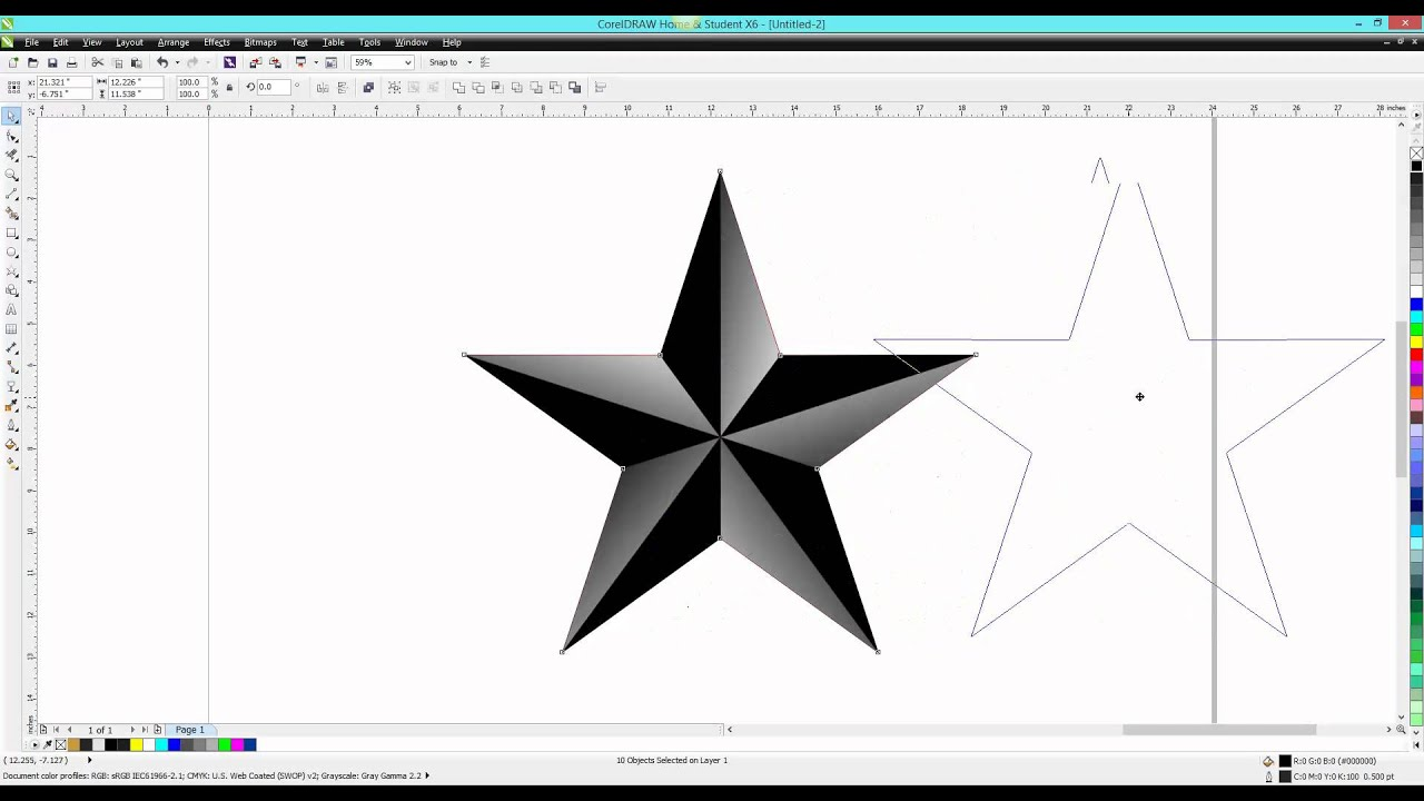 Corel draw tips tricks star 3d looking youtube for Make a 3d star