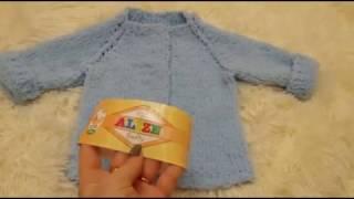 Вяжем плюшевую кофту для новорожденных регланом с ростком спицами. Кофта для детей спицами.