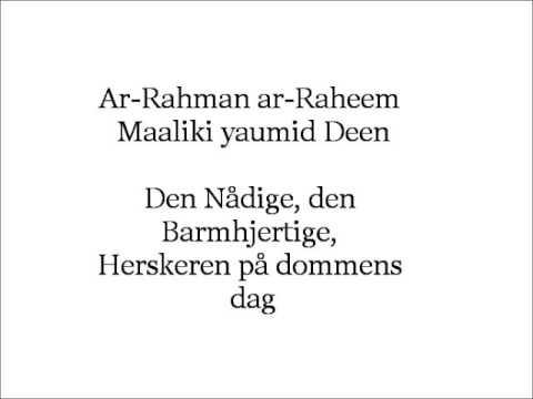 1 Al Fatiha Dansk Arabisk Youtube