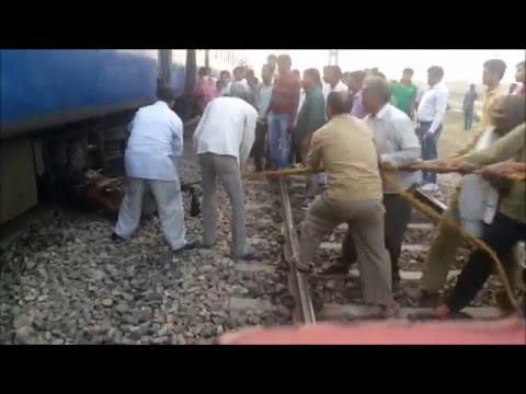 [IRI] full Grown Bull Killed by Indian Railway Train ,railway gangman removing its dead body