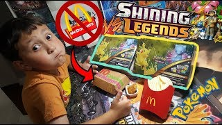 POKEMON LUNCH VS. MCDONALDS LUNCH!! Opening 2 Shining Legends Treasure Chest/Lunch Tins!! Hungry?! thumbnail