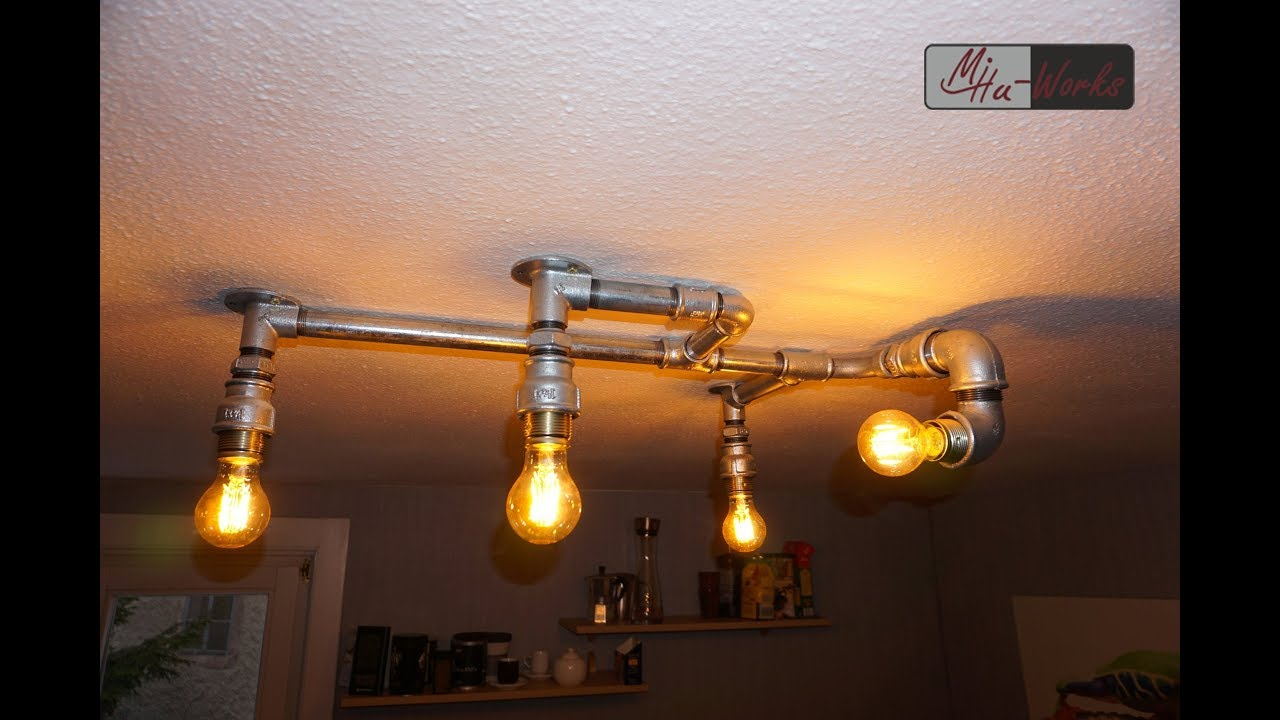 Leuchte Industriedesign Diy Design Deckenlampe Aus Rohren - Industrial Design Lighting - Youtube