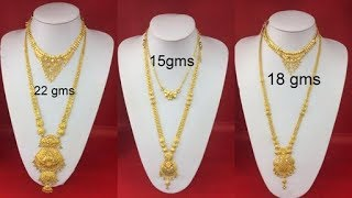 Latest Light Weight Gold Haram Designs With Weight //New Collection