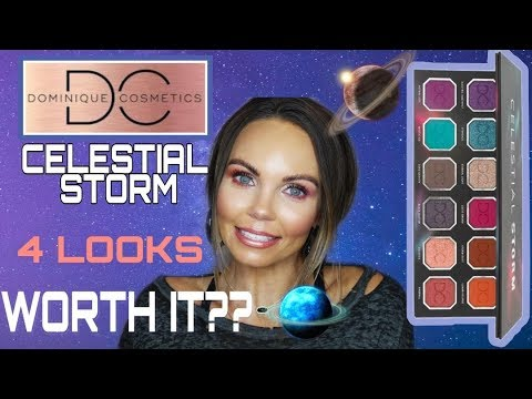 NEW DOMINIQUE COSMETICS CELESTIAL STORM PALETTE | 4 LOOKS | FULL REVIEW USING ALL 12 SHADES thumbnail