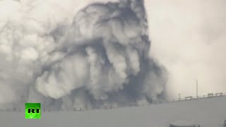 Japan's largest volcano Mount Aso erupts, shooting ash & billowing smoke into sky