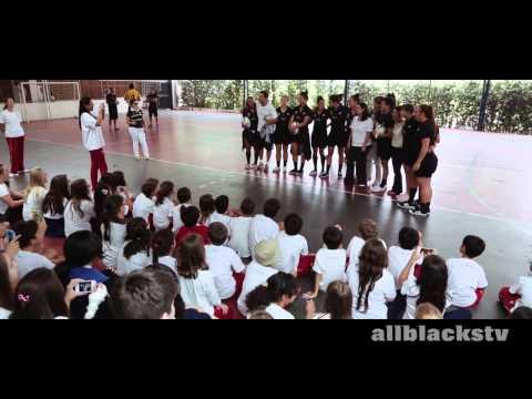 New Zealand Women's Sevens team visit a school in Sao Paulo, Brazil
