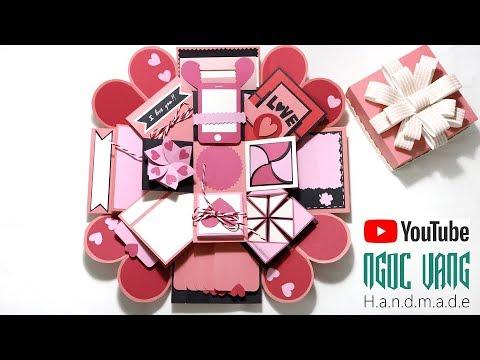 Hướng dẫn làm LOVE BOX hồng pastel - (Explosion Box Tutorial) - NGOC VANG thumbnail