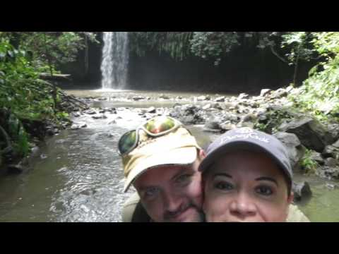 Hiking through a rainforest to play in a waterfall, Kahului, Maui, Hawaii