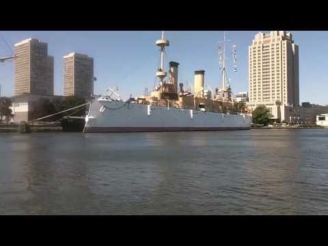 USS OLYMPIA WARSHIP & A TALL SHIP