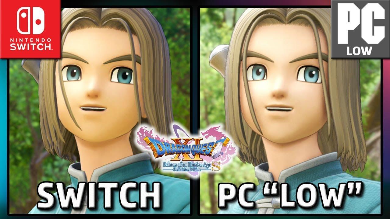 Dragon Quest XI S | Switch VS PC LOW | Graphics Comparison