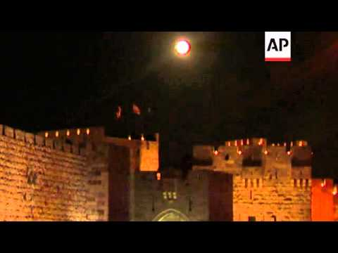 Biggest and brightest full moon of the year rises over Jerusalem's Old City