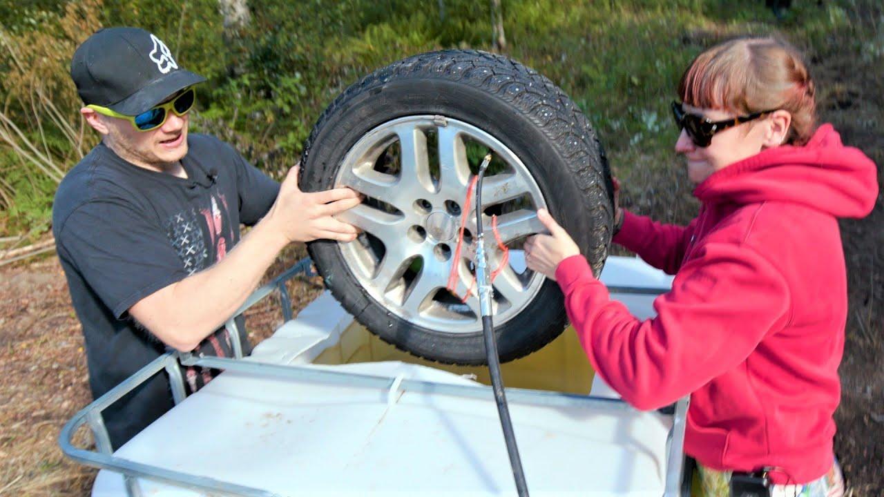 Exploding Car Tire inside of 1000 liter Water Tank