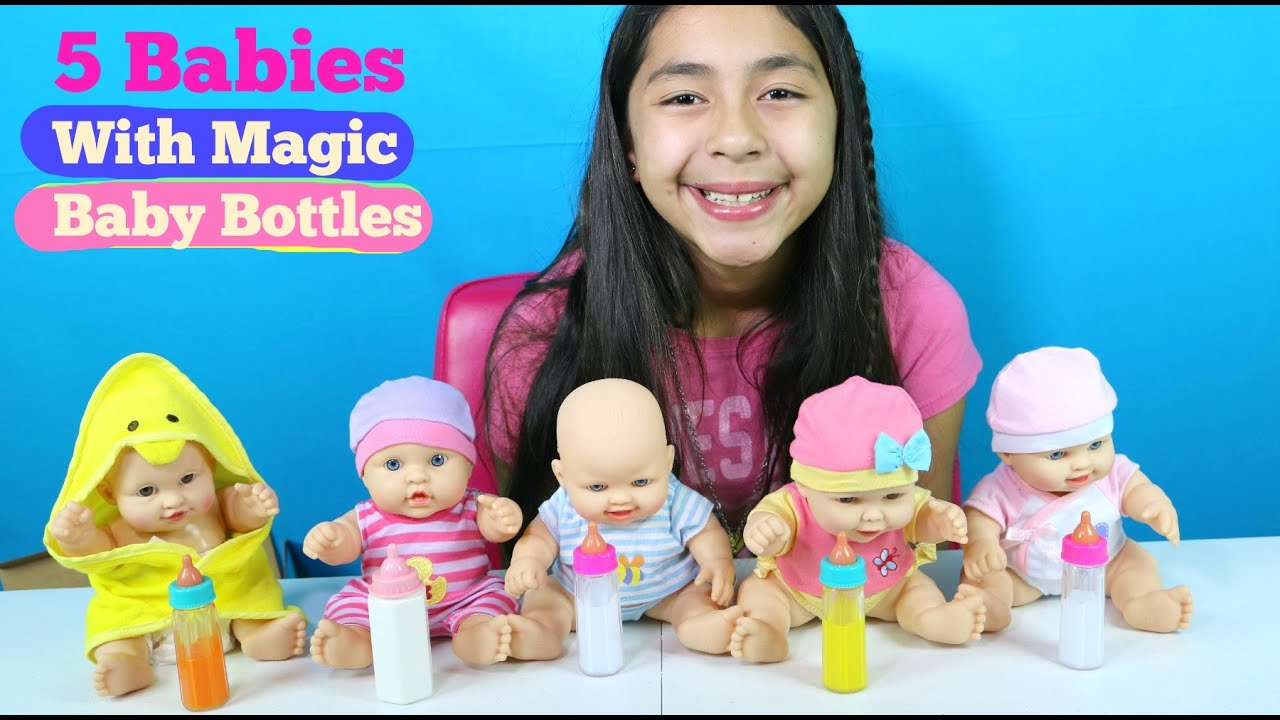 5 Baby Dolls With Magic Baby Bottles Baby Doll Toys