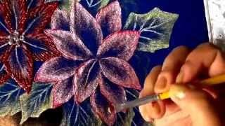 Pintando jogo de banheiro de tecido com flores de boa noite
