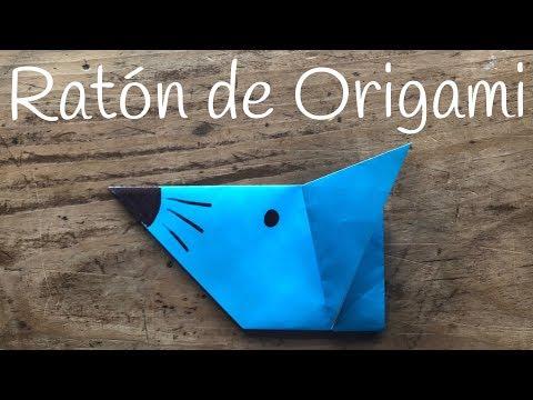 Ratón de papel fácil de hacer con origami para niños