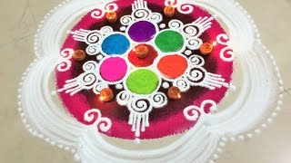 Multi Colored Beautiful Rangoli:Learn How To Draw Rangoli Step By Step(Tricks)
