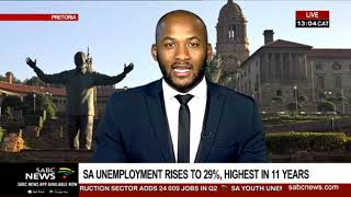 SA unemployment rises to 29%, highest in 11 years