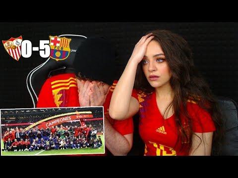 REACCIONANDO con MI NOVIA al Sevilla 0-5 FC Barcelona Final Copa del Rey 2018 - 동영상