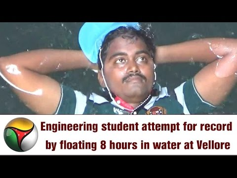 Engineering student attempt for record by floating 8 hours in water at Vellore