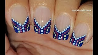 FRENCH MANICURE DESIGNS #20 / Blue Chevron Dotting Tool NAIL TIPS