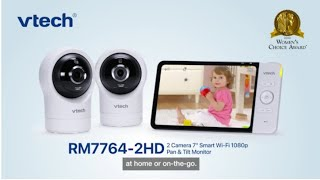 """RM7764-2HD 7"""" Wi-Fi Remote Access Video Baby Monitor with 1080p HD video quality, Pan & Tilt Camera"""