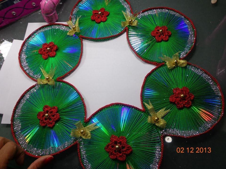 Corona navide a de cds reciclados paso a paso youtube - Como hacer decoraciones navidenas ...