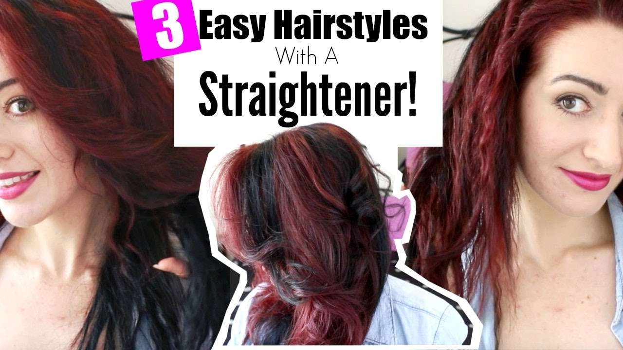 3 EASY HAIRSTYLES WITH A STRAIGHTENER! Lazy Girl Hair Hacks!