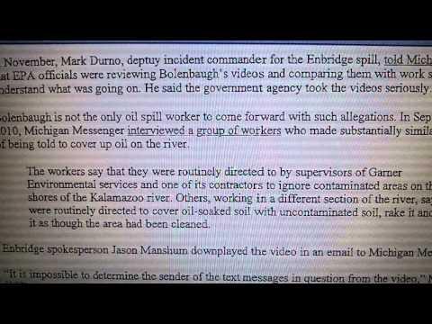 John bolenbaugh, more proof of an Enbridge cover up, shame on rod webber