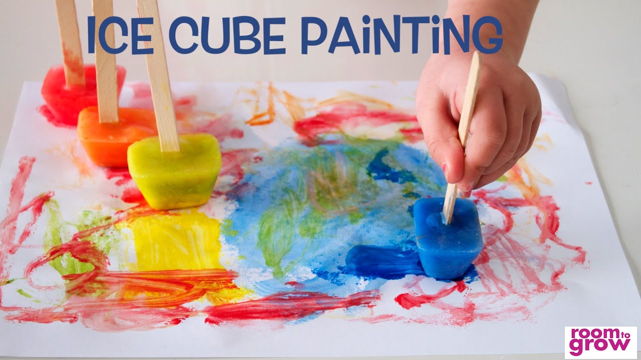 Preschool Painting with Ice Cubes