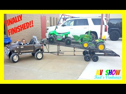 Finally Finished! Two Car Trailer! Hauling His Power Wheels Ride On ATV Sport and Ground Loader