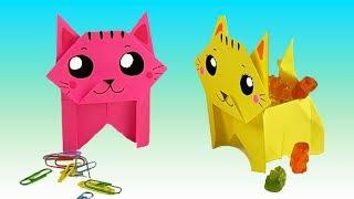 Оригами из бумаги КОТИК КОРОБОЧКА | Поделки для детей