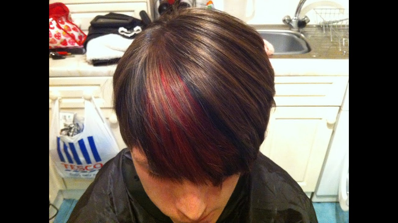 Hair colour make-over. Red and black lowlights and slices ...
