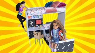 Barbie İki Katlı Yatak Nasıl Yapılır? DIY - Kendin Yap Barbie Eşyaları Bidünya Oyuncak Çocuk Videosu