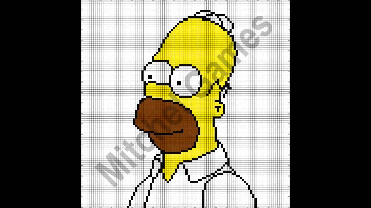 Minecraft Homer Simpson 100x100 Pixel Template Youtube