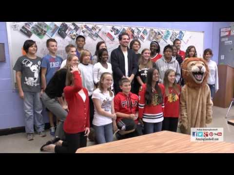 Chicago Blackhawks Patrick Sharp Visits Lisle Junior High School - Goodwill Pass It On Winner