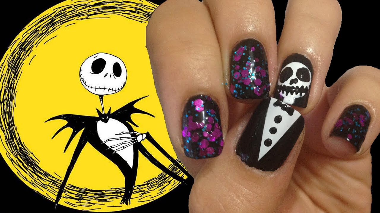 Jack Skellington Nails ♥ Halloween Nail Tutorial - YouTube