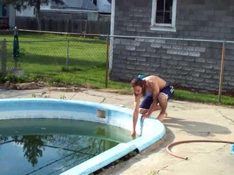 bro swimming in dirty pool water