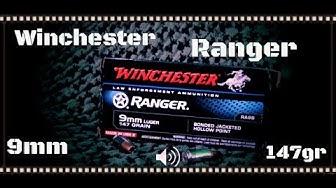 Winchester Ranger 9mm 147gr Bonded Jacketed Hollow Point Ballistic Gel Test (HD)
