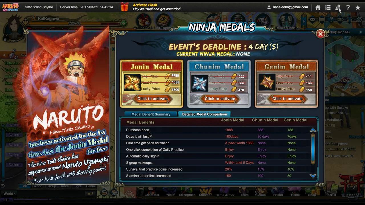 Naruto Onlinei Got Jonin Medal Free