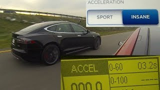 Tesla Model S P85D Insane vs Sport Mode Testing 0-60 MPH in 3.17 Seconds
