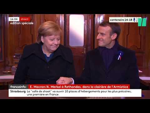 Les images de Macron et Merkel à Rethondes dans le wagon de l'Armistice