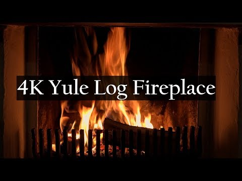 4K Yule Log Fireplace with Crackling Fire Sounds