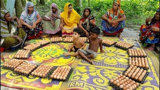 500 Eggs & Bengal Gram Mixed Curry Cooking For Villagers - Tasty Eggs Curry By Women