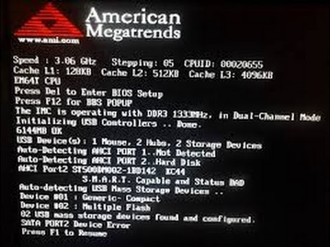 How to fix american megatrends errOr at boot