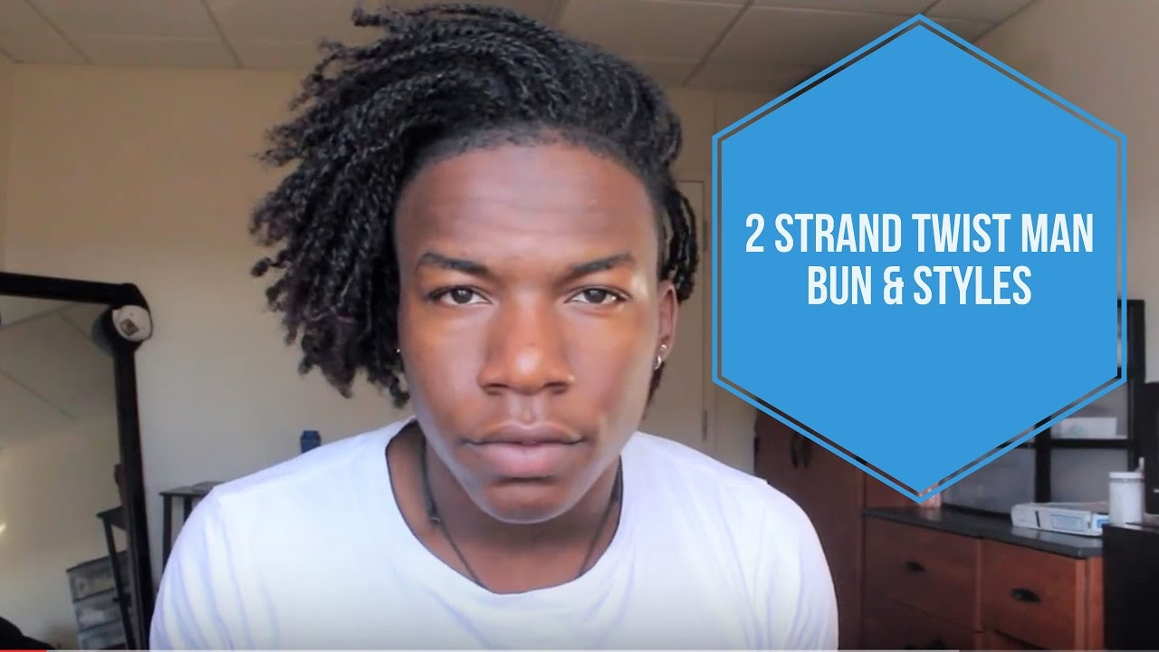 2 strand twist black man bun &