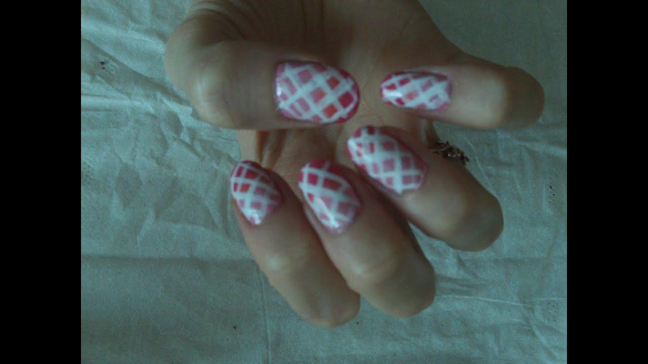 Pink Ombr Criss Cross Nail Art Youtube