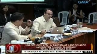 24 Oras: Ilang senador at opisyal ng UNA, nagkainitan sa umano'y 'Oplan Stop Nognog 2016'